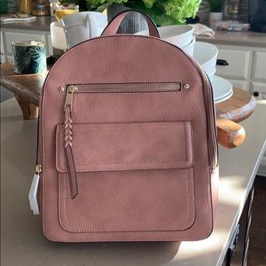 Blush Dusty Pink Faux Leather Gap Backpack
